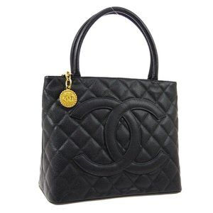 CHANEL Medallion Quilted CC Hand Tote Bag Purse Bl